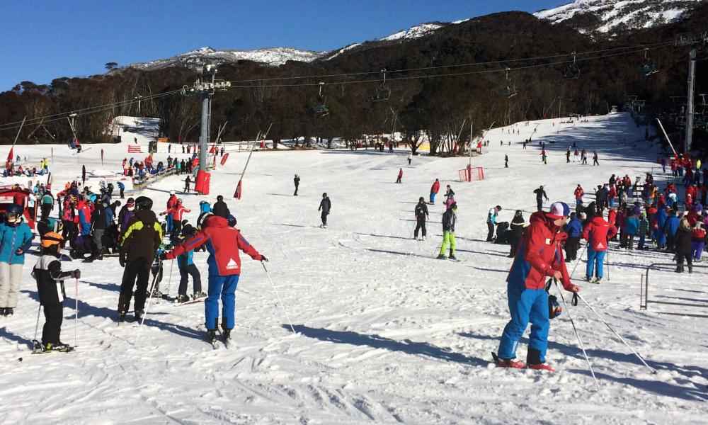 Ski lessons at Friday Flat, Thredbo.