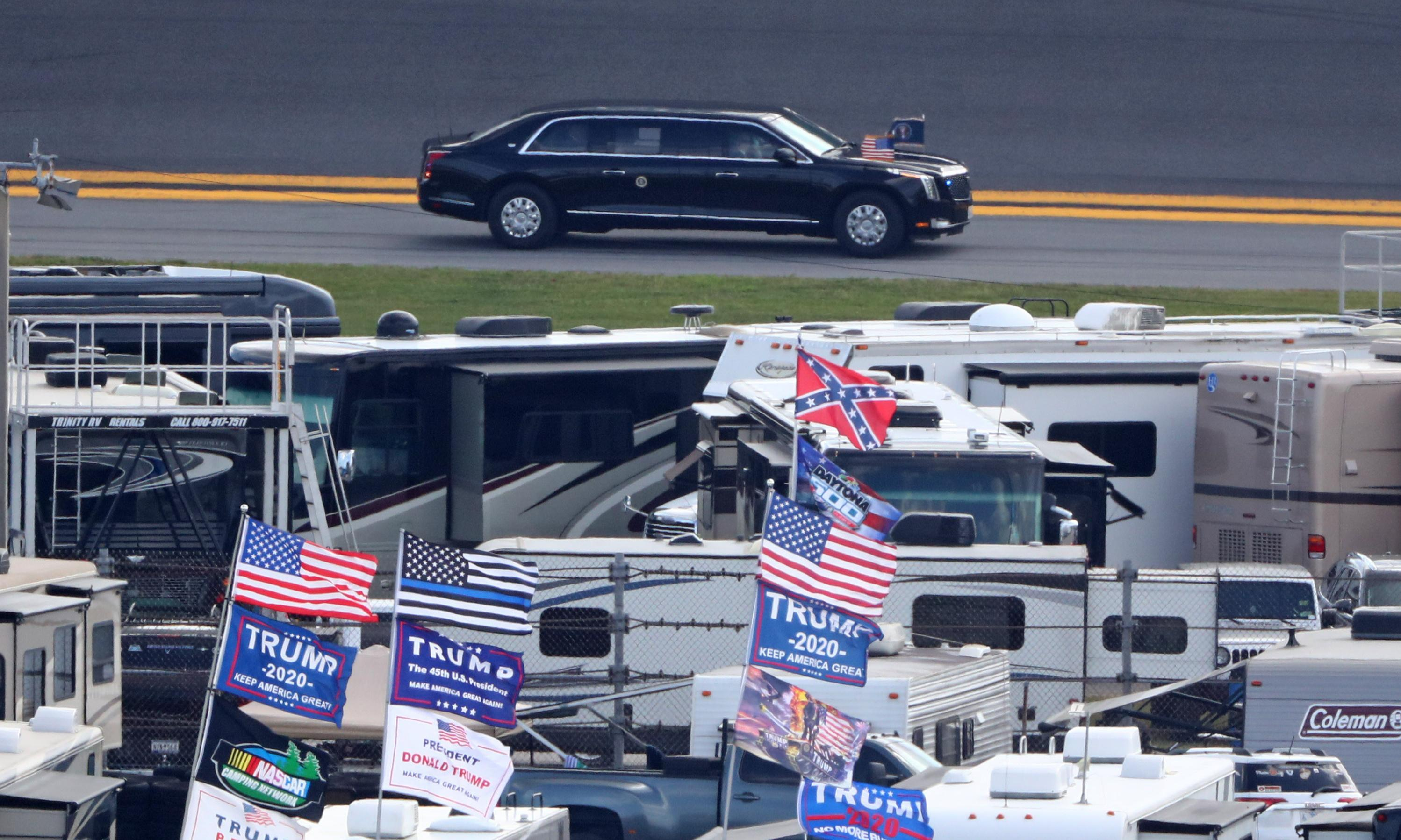 Trump takes lap of Daytona track in armored presidential limo 'the Beast'