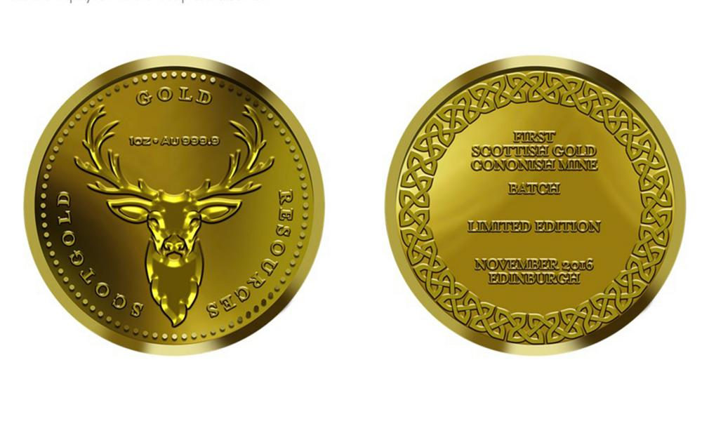 The commemorative coins made by Scotgold in 2016.