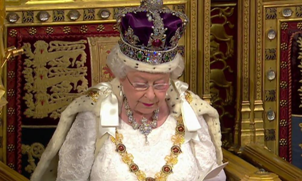 Queen Elizabeth, reading her speech