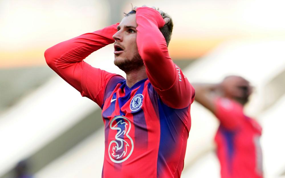 Chelsea's Timo Werner reacts after failing to score