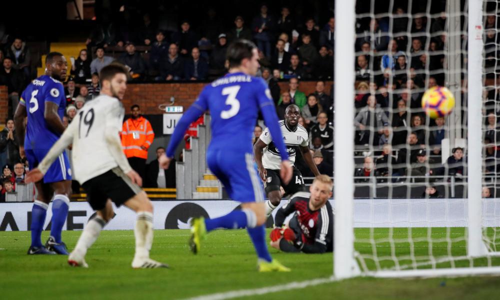 Fulham's Aboubakar Kamara powers the ball past Schmeichel.