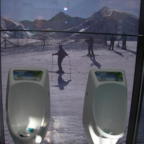 Stream of consciousness … toilet with a sloping view at Grandvalira ski resort, Andorra.