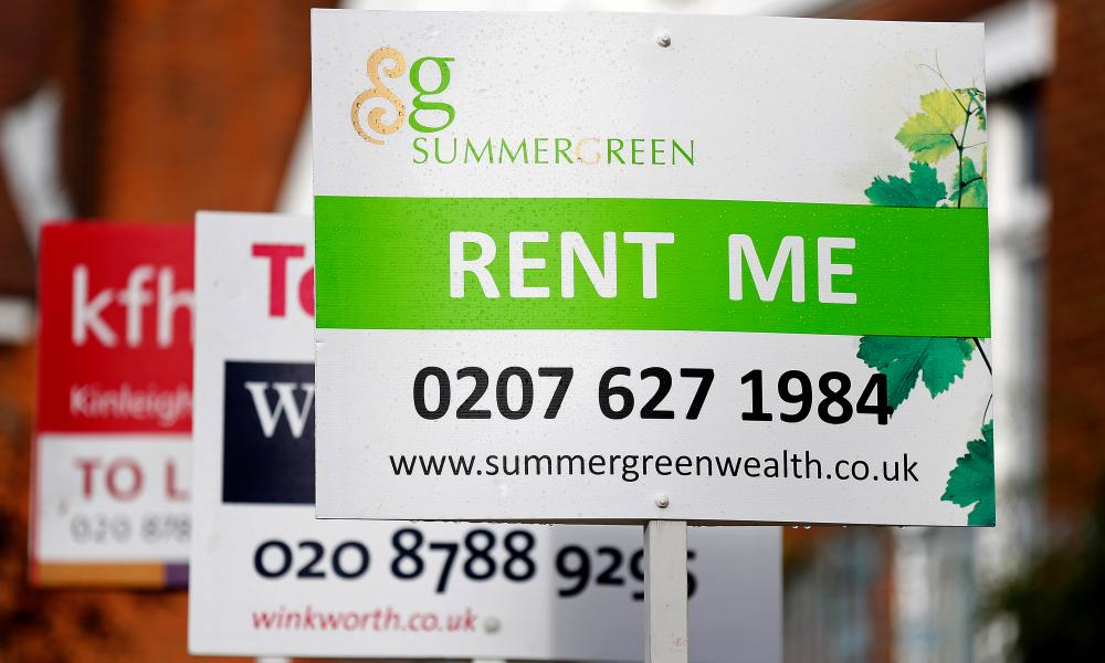 Estate agent signs advertising properties