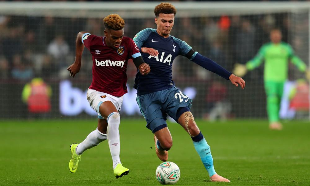 Diangana battles with Dele Alli of Spurs in the Carabao Cup