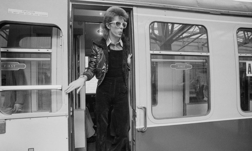 Bowie … dungarees and train bathrooms aren't always a great match.