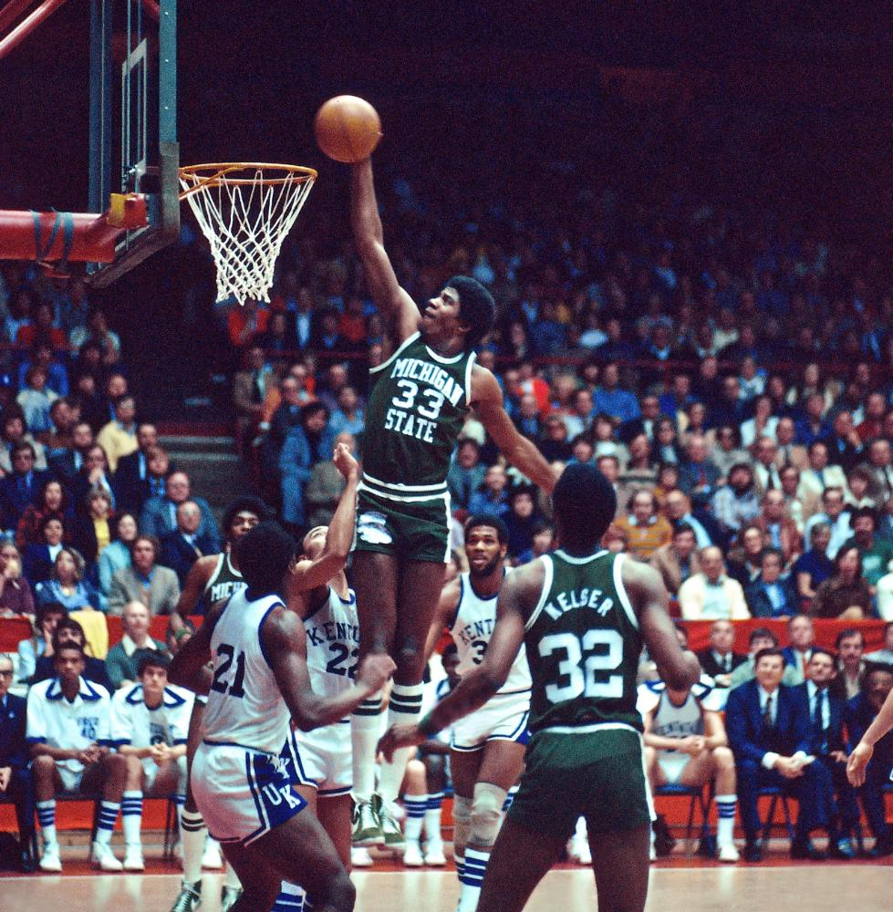 Johnson shoots for Michigan State Spartans against the Kentucky Wildcats in c 1977 in East Lansing, Michigan.