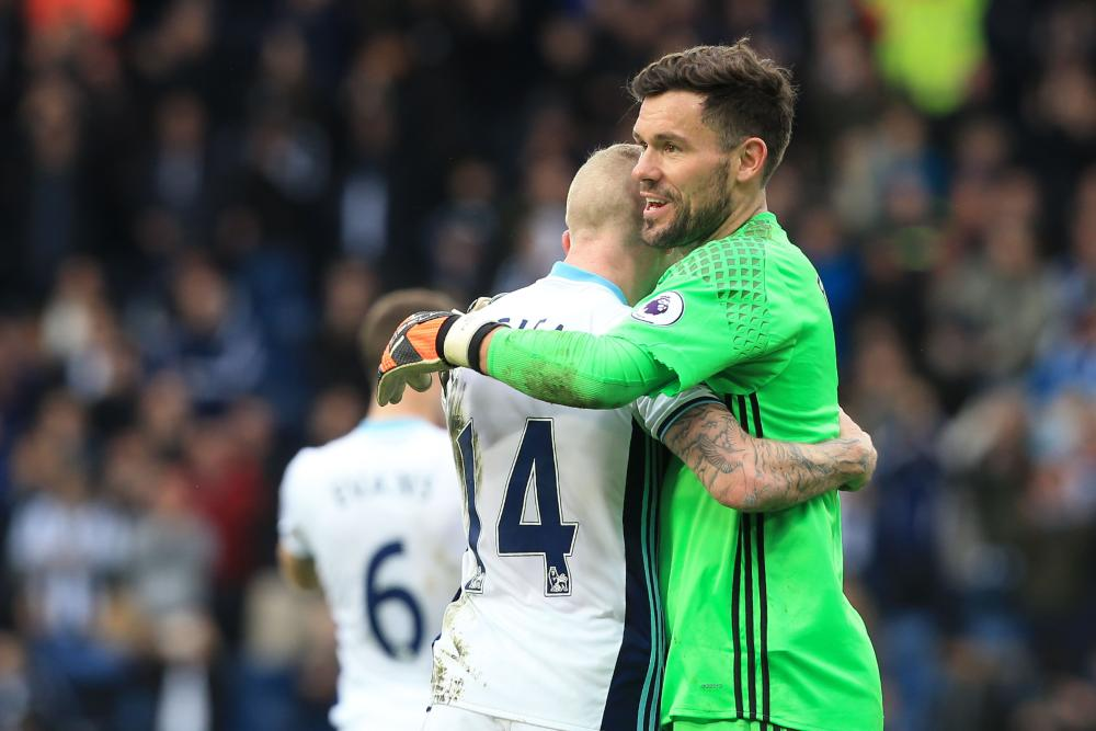 West Bromwich Albion'sJames McClean goalkeeper Ben Foster celebrate the victory.