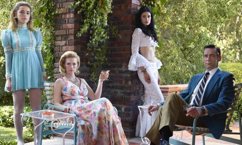 Kiernan Shipka as Sally Draper, January Jones as Betty Francis, Jessica Pare as Megan Draper and Jon Hamm as Don Draper - Mad Men _ Season 7B