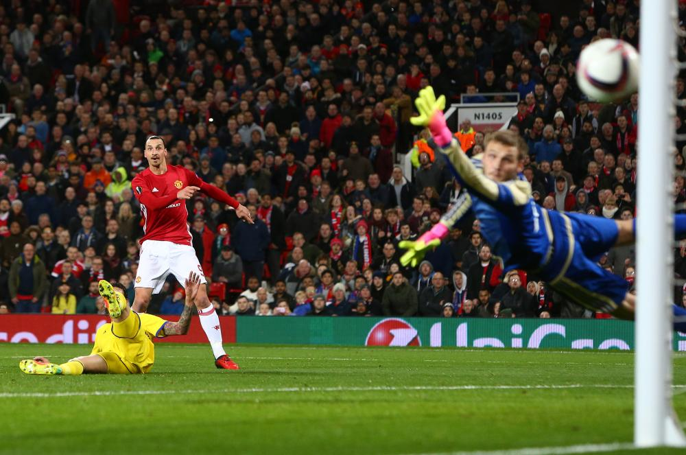 Manchester United's Zlatan Ibrahimovic thumps a shot that rattles the woodwork.