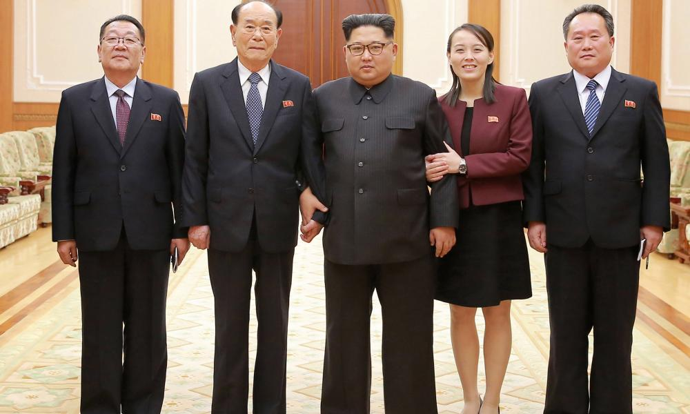 Kim Jong-un with the returning delegation from the games, including his sister Kim Yo-jong.