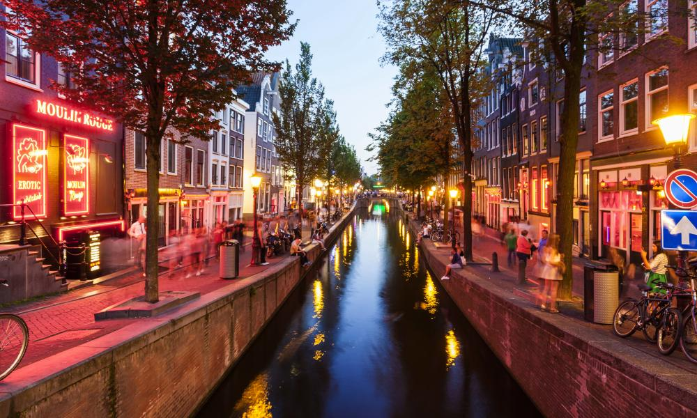 The Wallen, Amsterdam's highest profile red light district.