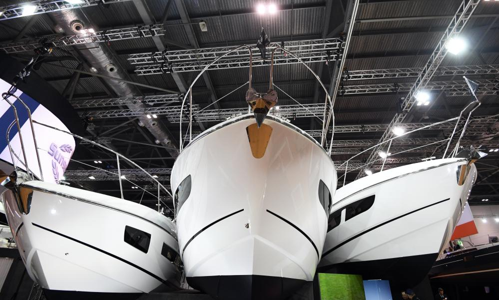 Sunseeker yachts at the London Boat Show on 10 January 2018.