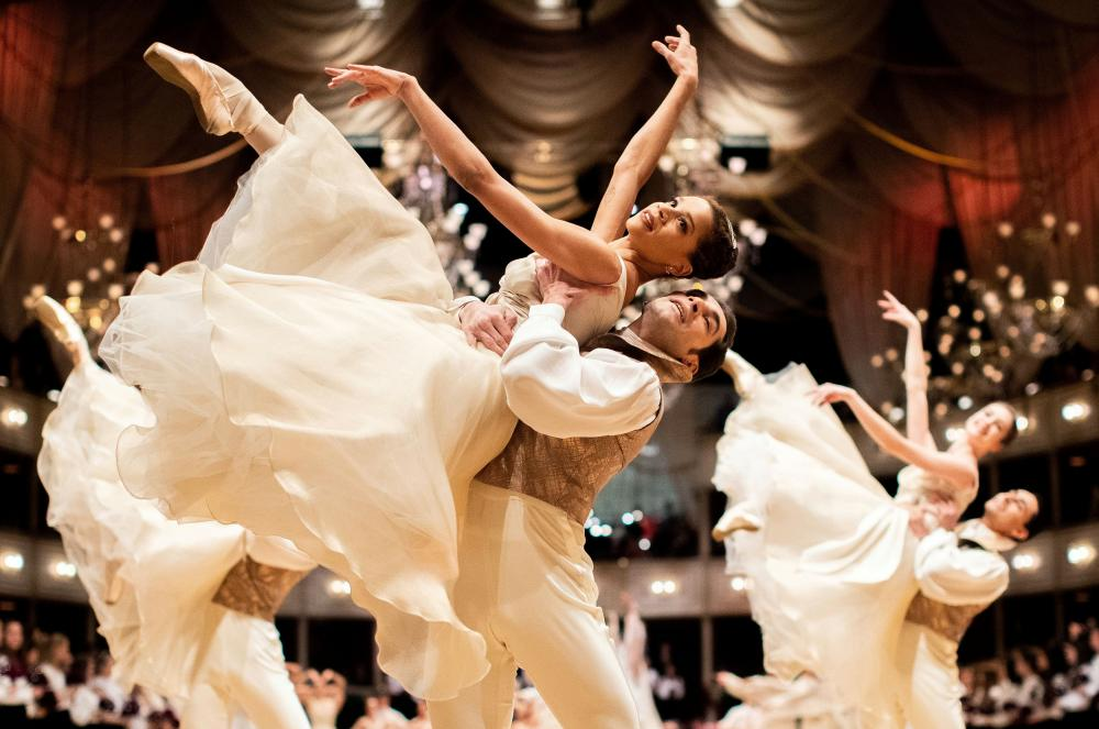 Dancers of the State Opera ballet performing during a dress rehearsal for the traditional Opera Ball in Vienna back in February.