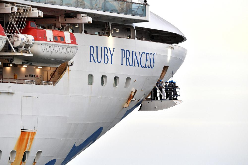 The cruise ship Ruby Princess departs from Port Kembla, Australia, on 23 April 2020