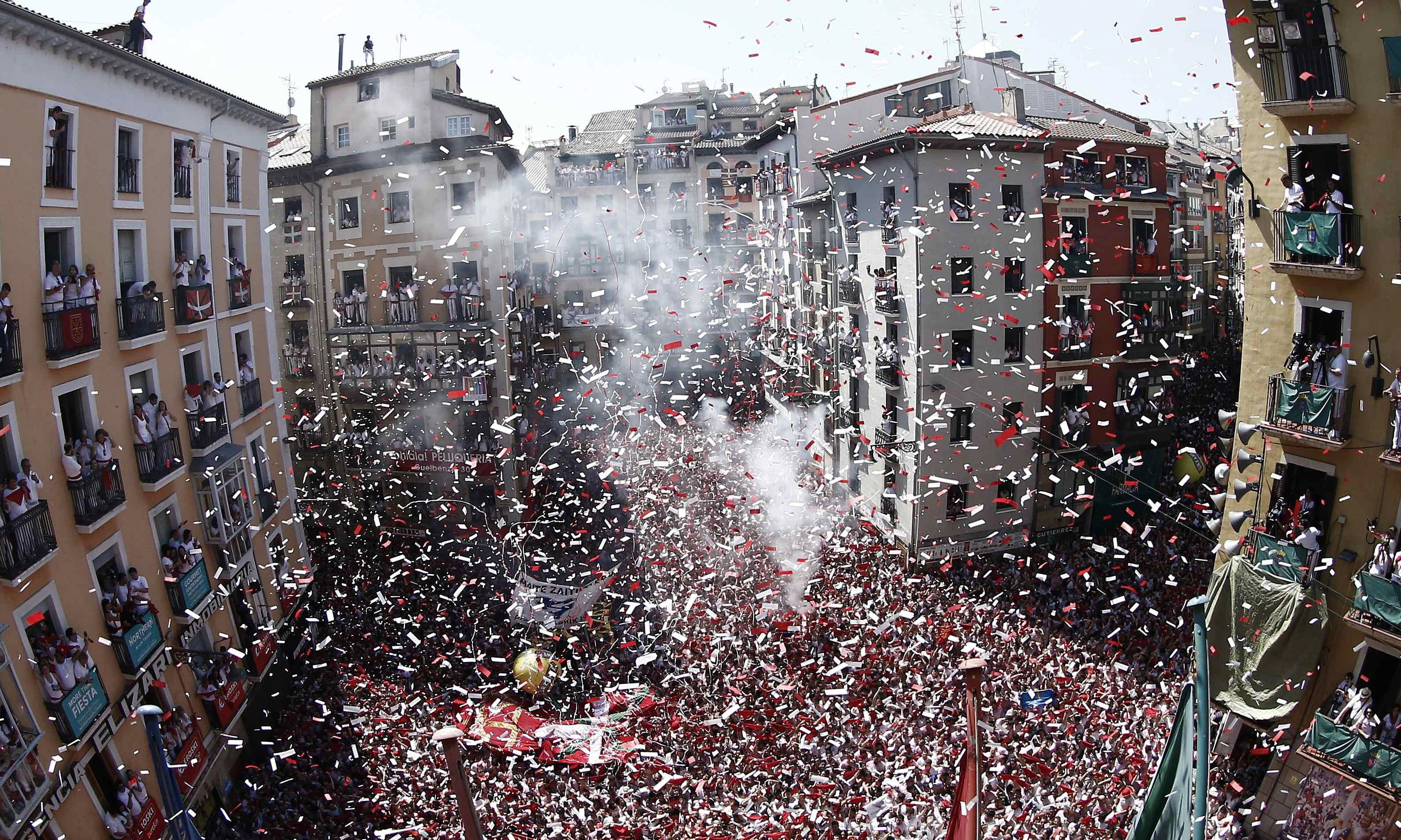 Annual Pamplona bull-run festival begins amid fireworks and protests
