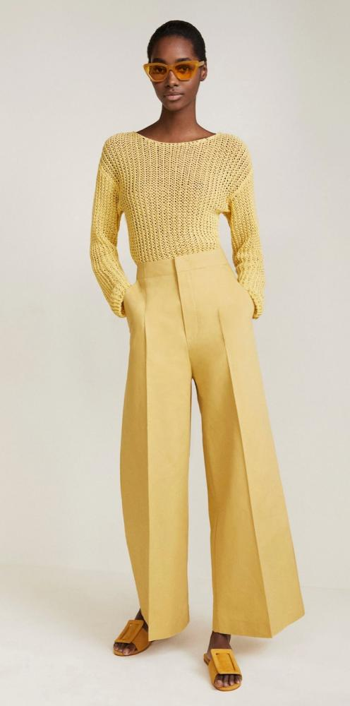 High-waisted palazzo pants, £69, mango.comOpen-knit sweater, £39.99, mango.com