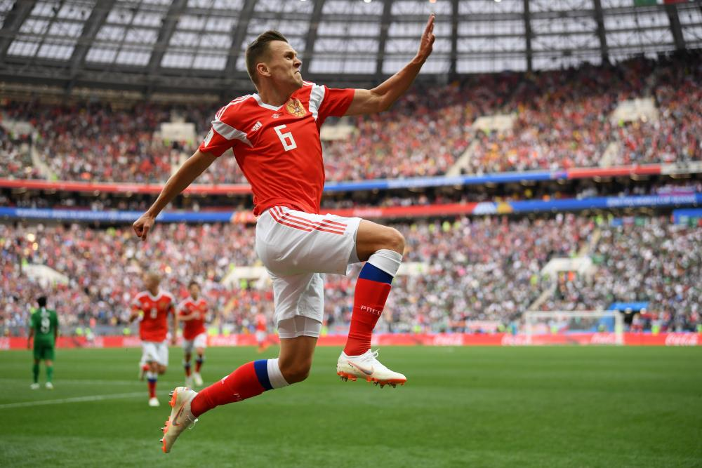 Denis Cheryshev celebrates after scoring the second goal against Saudi Arabia, arguably the best goal of the tournament.