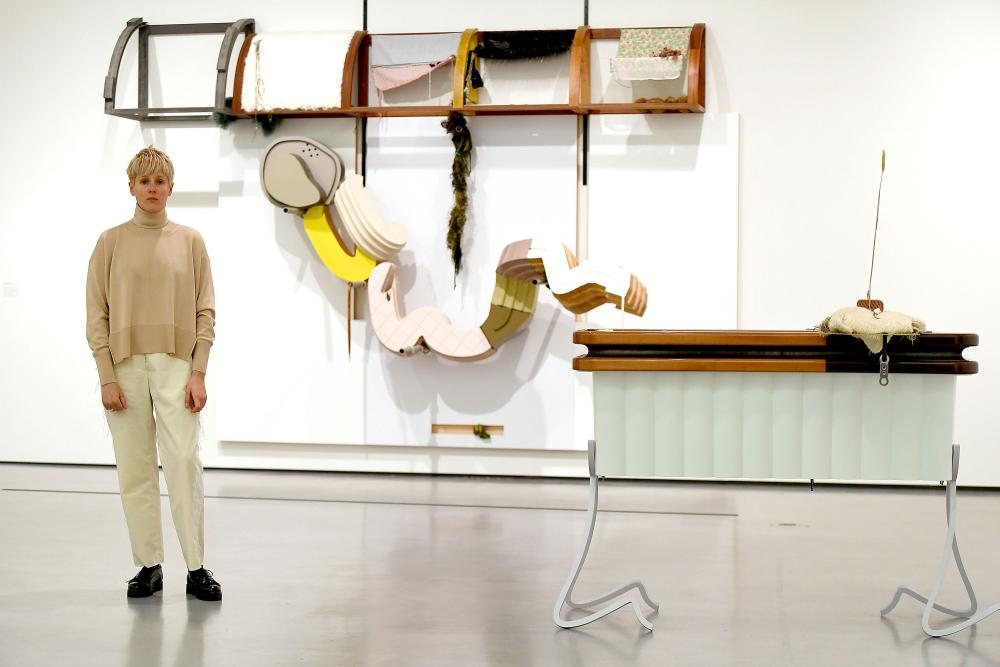 Helen Marten, winner of the inaugural Hepworth prize for sculpture with her artwork at the Hepworth Wakefield gallery in November