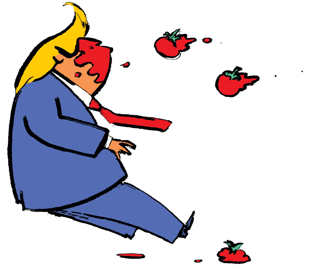 Graphic of tomatoes being thrown at Trump