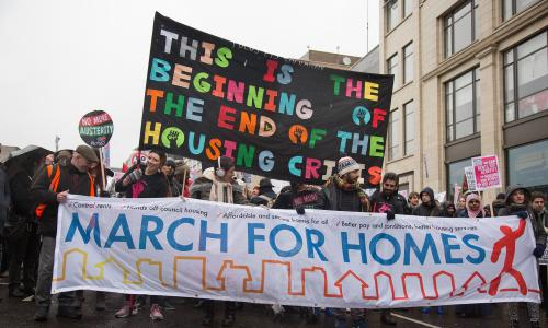 Tenants, housing campaigners and trade union activists demand solutions to London's housing crisis on the recent March for Homes in Shoreditch.