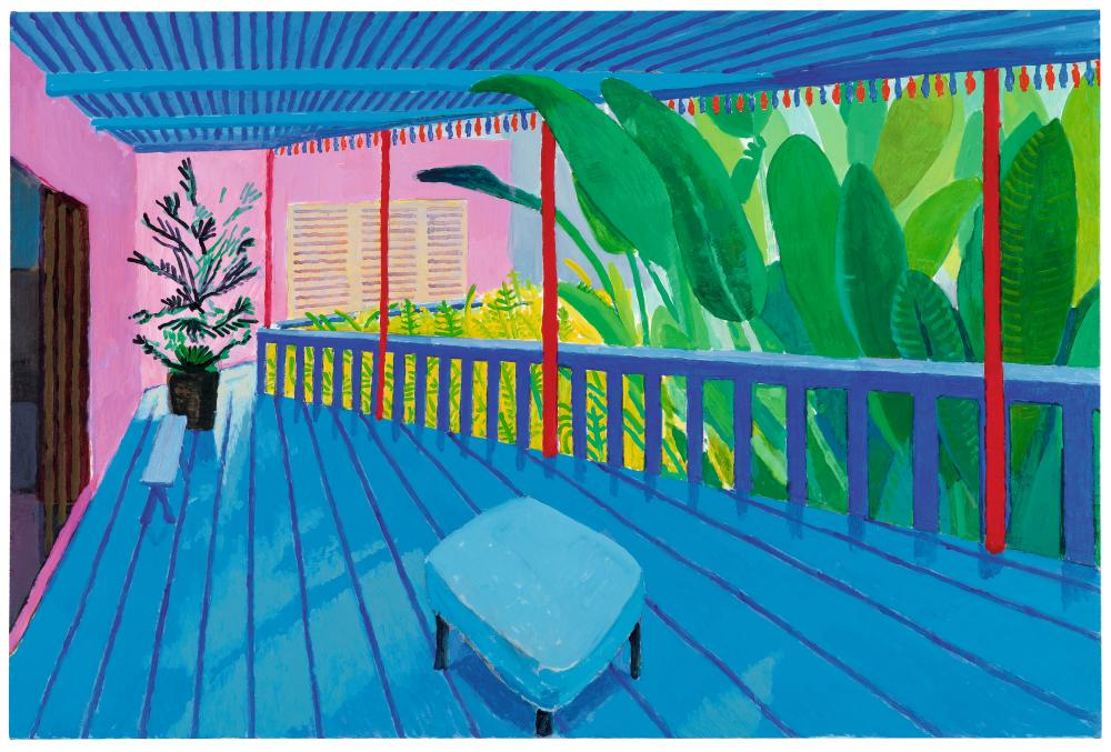 """Garden with Blue Terrace"" 2015 Acrylic on canvas 48 x 72"""