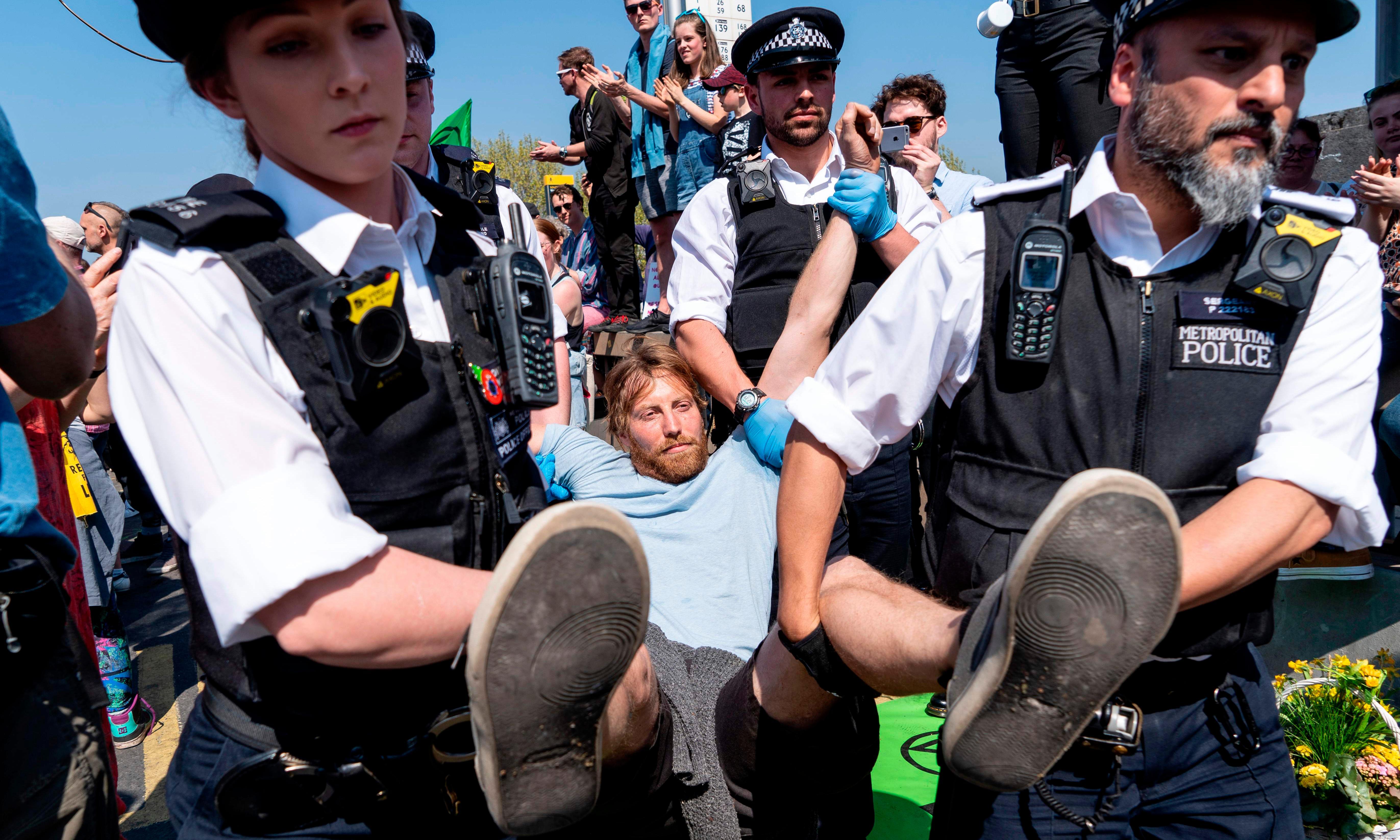 Police take hard line on arrested Extinction Rebellion protesters