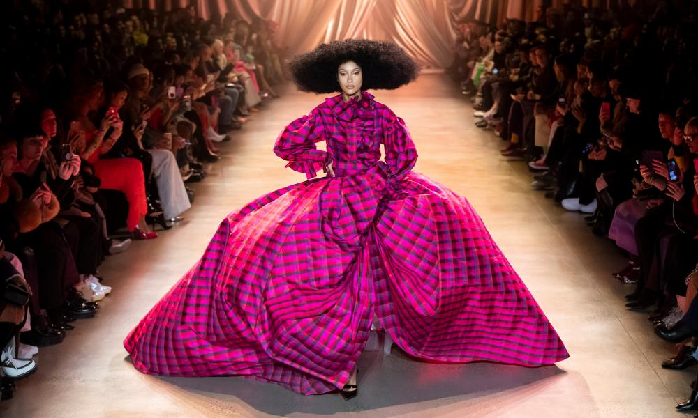 'Exuberance' will be represented by a vast violet taffeta ballgown from 2020 by the emerging catwalk star Christopher John Rogers.