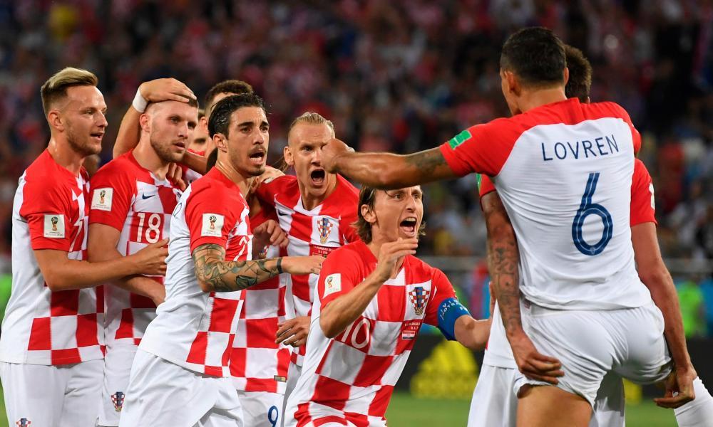 Croatia celebrate against Nigeria.