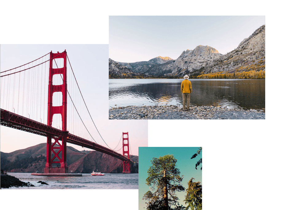 Collage: The Golden Gate, a man by a lake in Yosemite, and a sequoia tree at King's Canyon CA.
