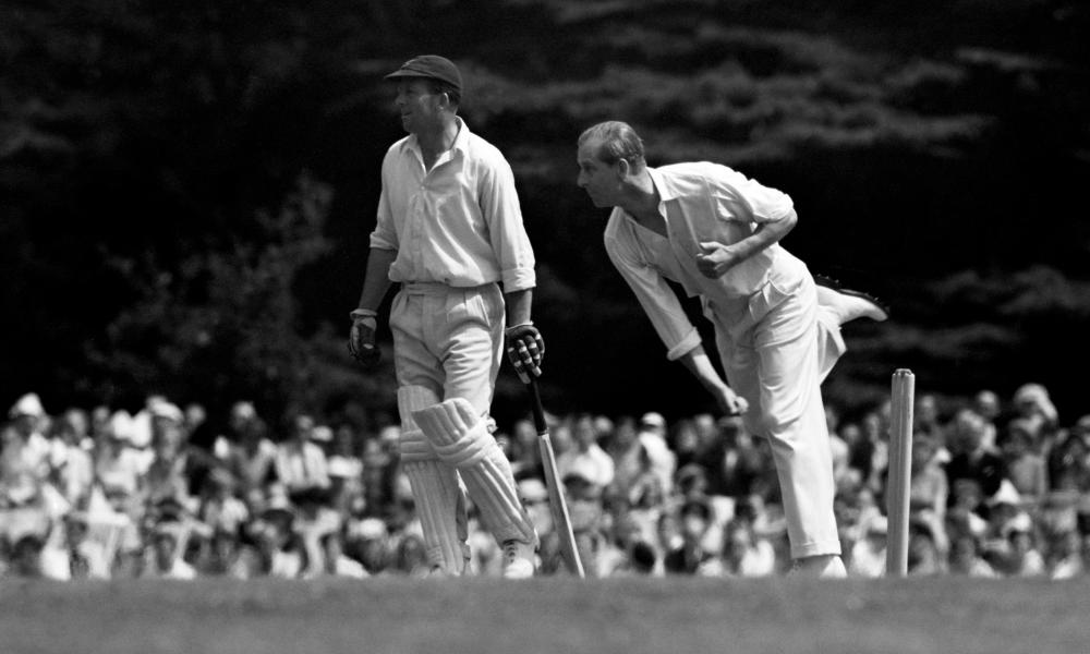 Prince Philip bowling during the 12 a side cricket match between the Duke of Edinburgh and the Duke of Norfolk in August 1953. Philip was an accomplished all-round sportsman with a particular passion for polo and carriage driving.