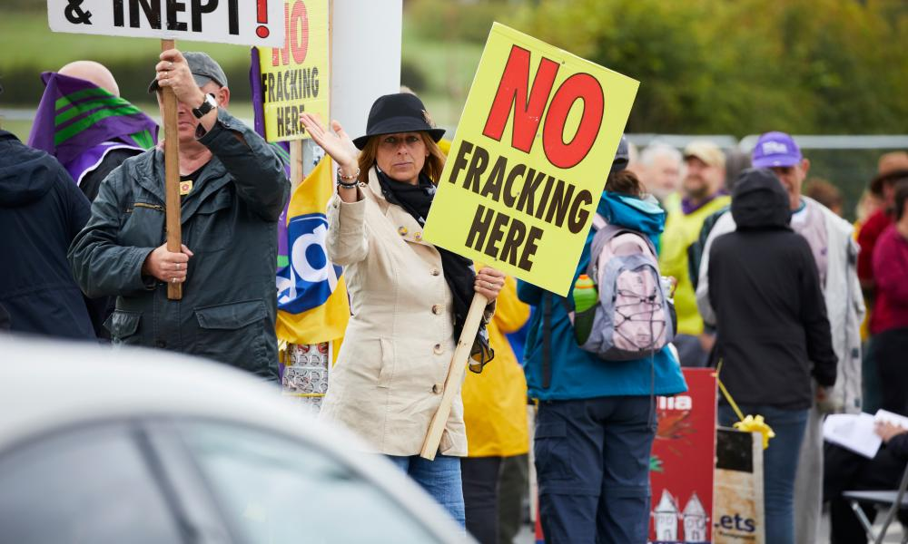 Anti-fracking protesters at Little Plumpton in Lancashire.