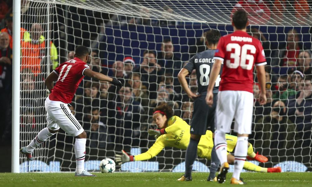 Benfica's Mile Svilar saves a penalty from Anthony Martial in the Champions League Group A match.