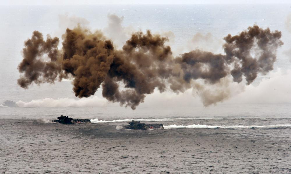 Taiwan forces conduct live-fire war games annually.