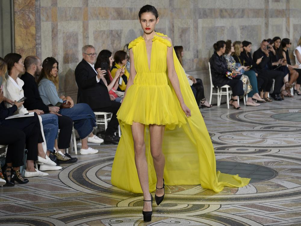 Power yellow on the Giambattista Valli catwalk.
