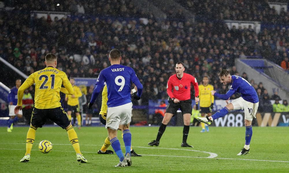 Leicester City's James Maddison scores their second goal.