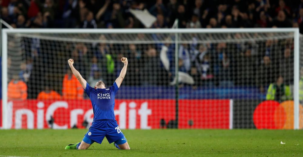 Leicester City's Christian Fuchs celebrates after the game.