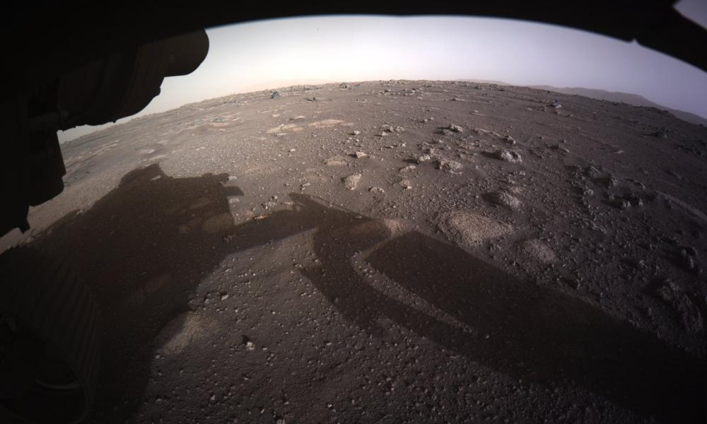 The first color image sent by the Perseverance Mars rover after its landing on Thursday.