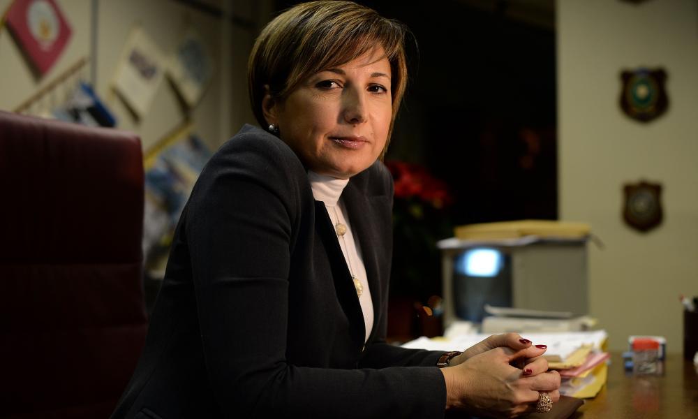 Italian mafi-buster Alessandra Cerreti in her office.