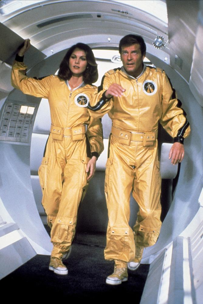 Lois Chiles and Roger Moore in Moonraker, 1979.
