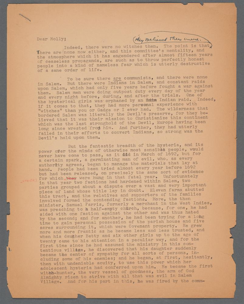 The 1952 letter from Arthur Miller to Molly Kazan.