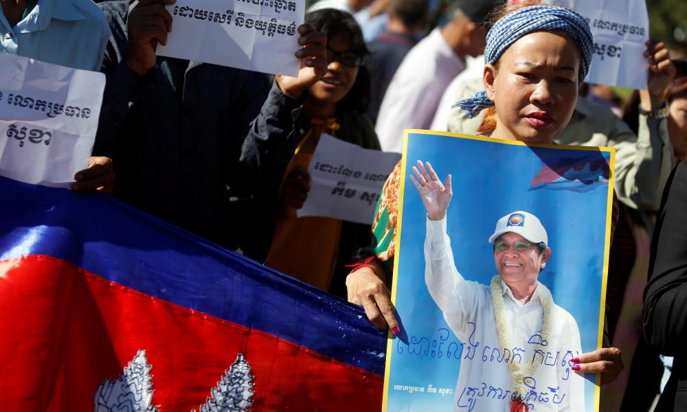 Supporters of jailed opposition leader Kem Sokha outside the appeal court in Phnom Penh.