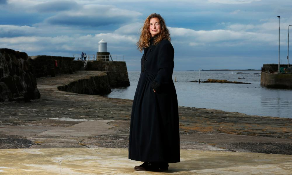 Julie Brooks ,who was once shot by a sniper, seen by a harbour near her home in Scotland