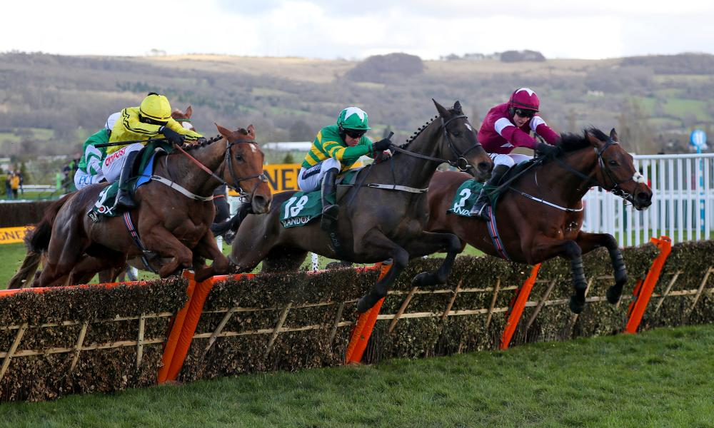Saint Roi ridden by Barry Geraghty (centre) jumps the last on the way to winning the County Hurdle.
