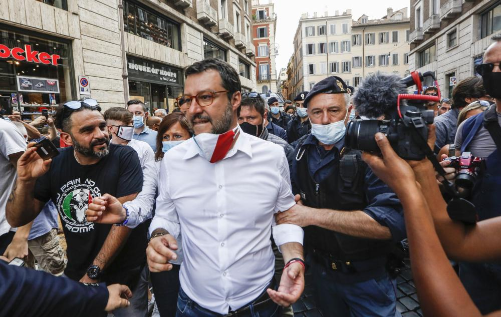 Lega leader Matteo Salvini at an anti-government demonstration in Rome.