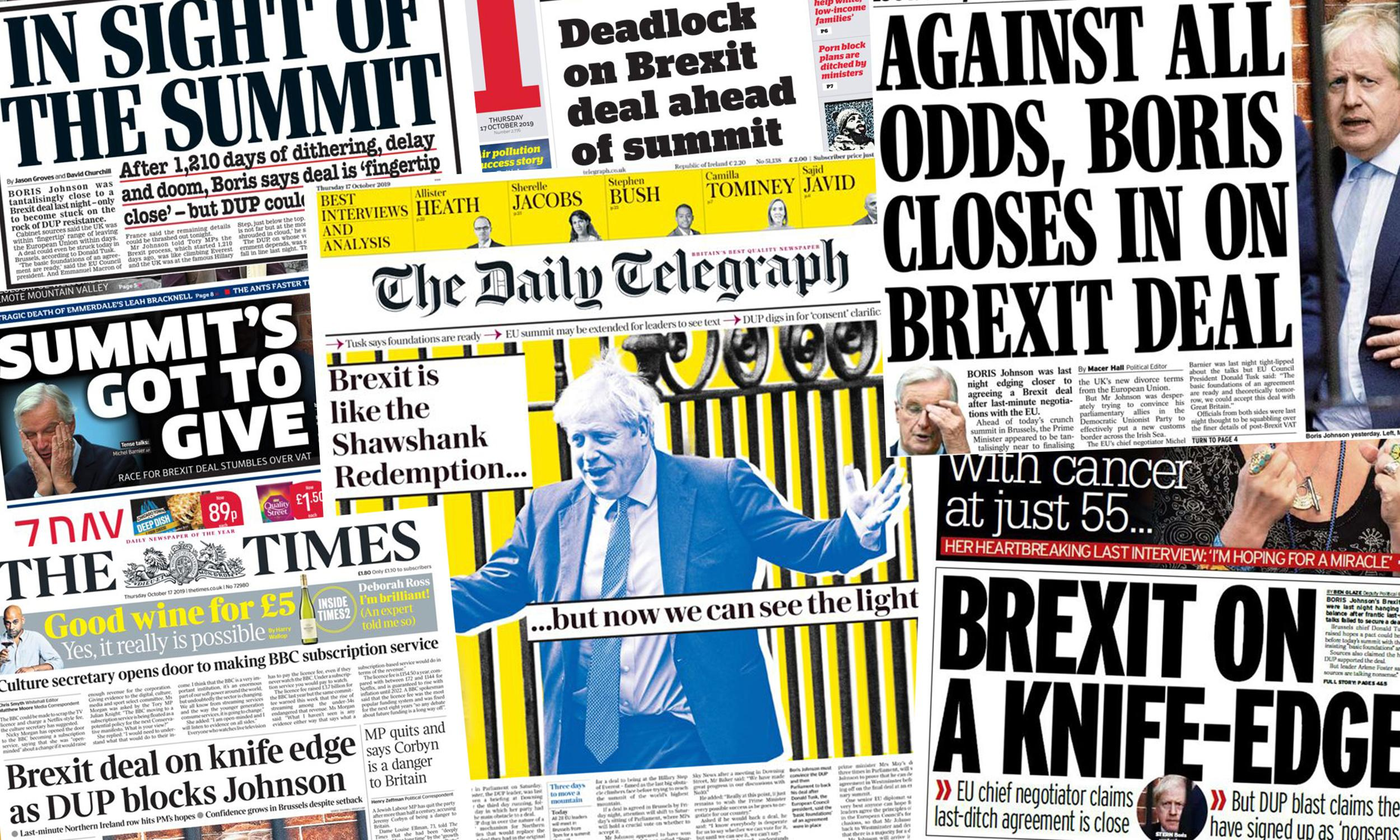 'Summit's got to give': how the papers covered Johnson's Brexit deadline