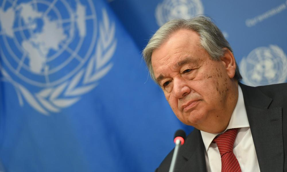 In this file photo United Nations Secretary General Antonio Guterres speaks during a press briefing at United Nations Headquarters(Photo by Angela Weiss / AFP) (Photo by ANGELA WEISS/AFP via Getty Images)