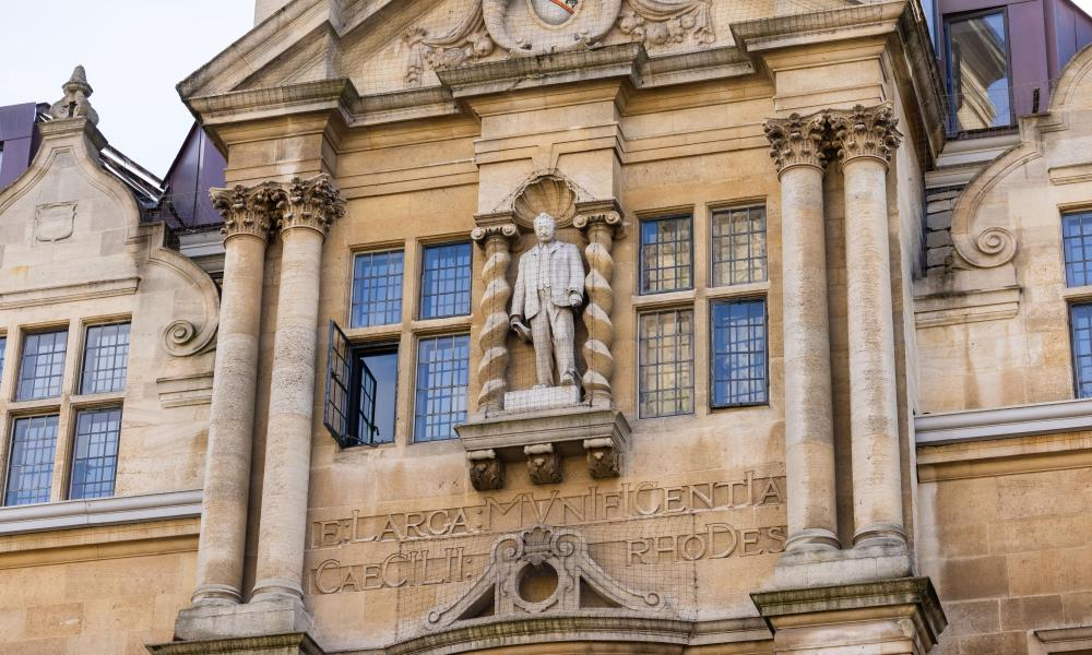 The statue of Cecil Rhodes above the gates of Oriel College, Oxford.