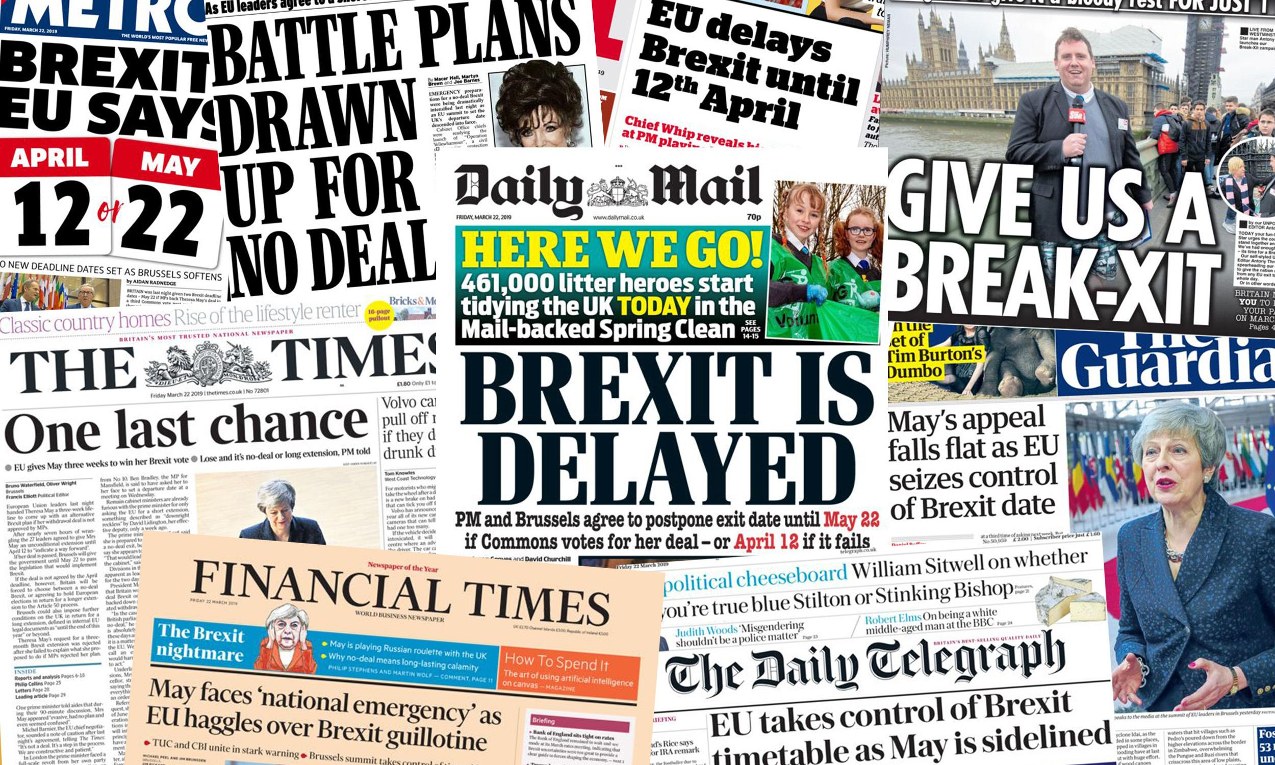 'One last chance': what the UK papers say about Brexit delay