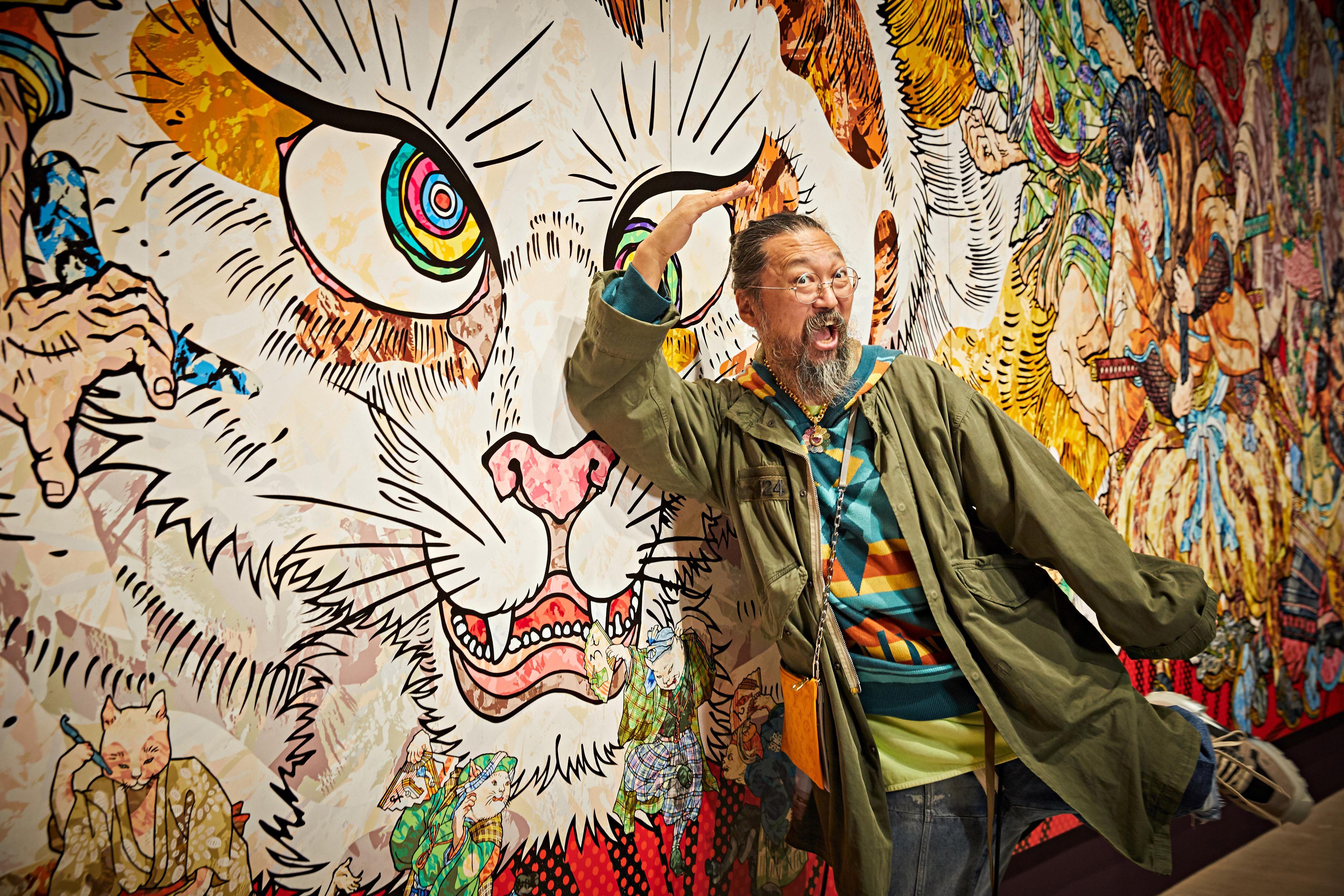 Takashi Murakami, Japan's rock star artist, unveils 10-metre 'stupid cat painting'